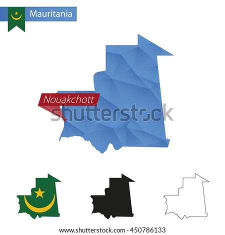 Mauritania blue Low Poly map with capital Nouakchott, versions with flag, black and outline. Vector Illustration. - stock vector