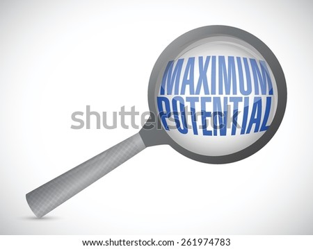 maximum potential magnify sign concept illustration design over white - stock vector