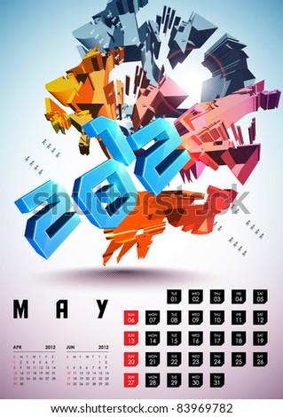 May - Calendar Design 2012 - stock vector