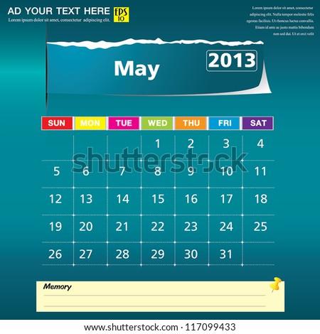 May 2013 calendar vector illustration - stock vector