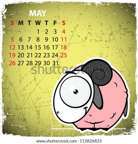 May. 2013 calendar with cartoon sheep. - stock vector