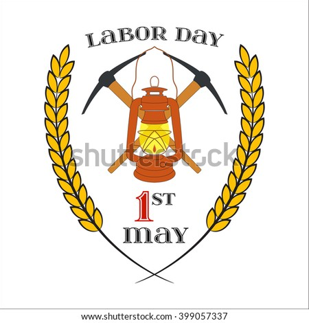 May Day. May 1st. Labor Day Icon with two crossed picks and lantern over white . Element for poster, greeting card or brochure template, logo, symbol of work and labor, vector icon - stock vector
