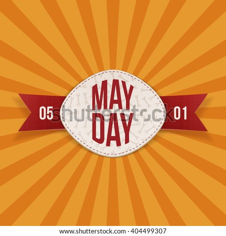 May Day Text on realistic Banner with red Ribbon - stock vector