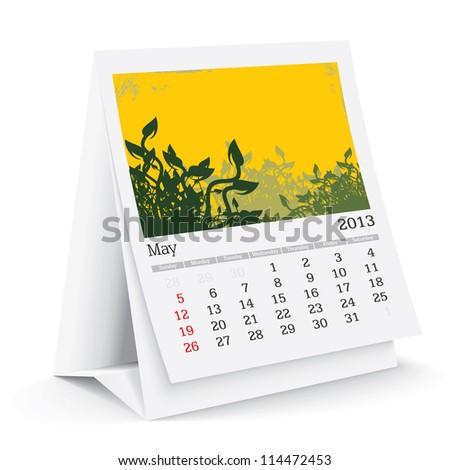 may 2013 desk calendar - stock vector