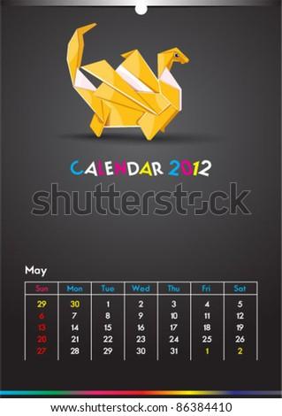 May 2012 Dragon Calendar Template - stock vector