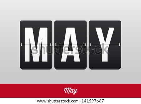 May, mechanical panel letters. Typography, font, type vector vintage retro. - stock vector