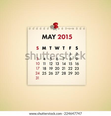 May 2015 Note Paper Calendar Vector - stock vector