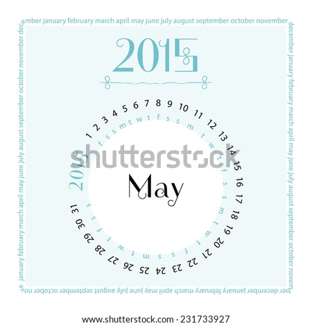 May. 2015 round calendar. Vector illustration. - stock vector