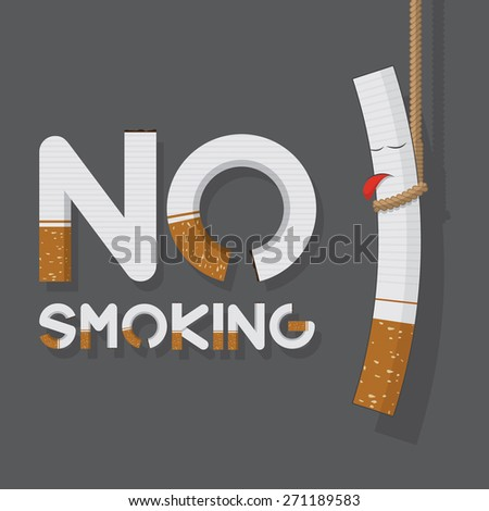 May 31st World No Tobacco Day poster. No smoking sign in cigarette letters and hanging cigarette. Icons. Vector. Illustration - stock vector
