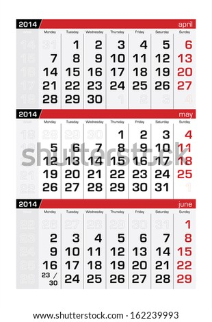 May 2014 Three-Month Calendar - stock vector