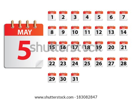 MAY Vector months  calender - stock vector