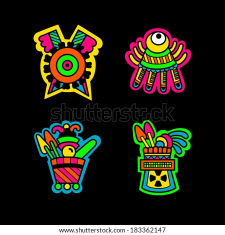 Maya objects. Flyuro image of the Maya. Maya designs. Maya design elements. - stock vector