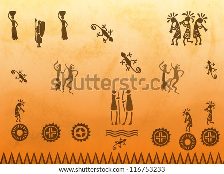 Mayan ancient cave paintings with traditional motifs - stock vector