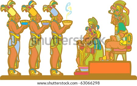 Mayan king and court recieving tribute derived from mayan temple imagery. - stock vector