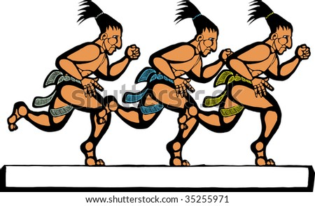 Mayan men running in a group of three. - stock vector