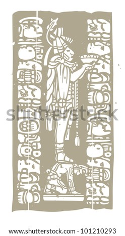 Mayan priest with offering bowl in image derived from traditional mayan temple imagery. - stock vector