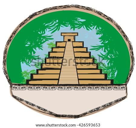 Mayan Pyramid, Chichen-Itza, Mexico - stock vector