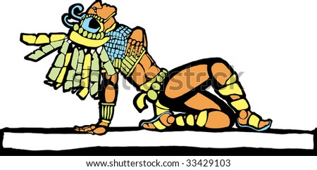 Mayan warrior fallen in battle designed after Mesoamerican Pottery and Temple Images. - stock vector