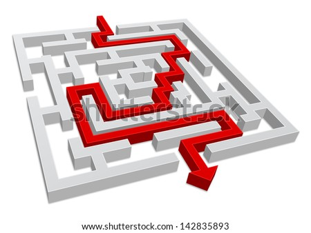 maze 3d with arrow - stock vector
