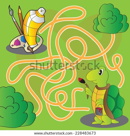 Maze for children - help the turtle get to paints and brushes for painting - vector - stock vector