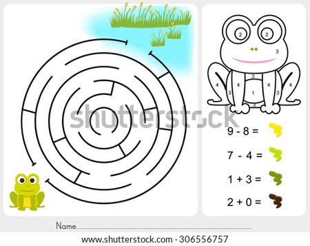Maze game and Paint color by numbers - Worksheet for education - stock vector