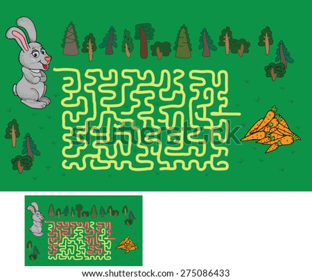 maze game: find a way to help the hare to the carrot - stock vector