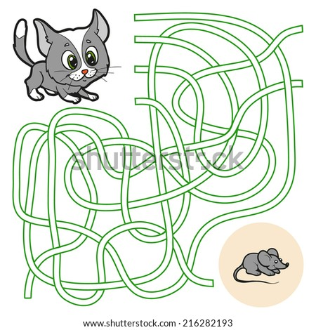 Maze Game for children (cat) - stock vector