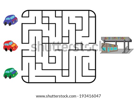 Maze game for children. Find the way for car to gas station. Only one is correct. Vector illustration. - stock vector