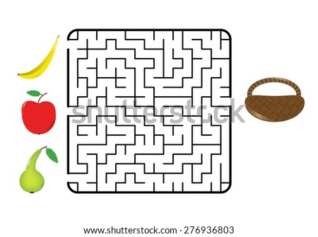 Maze game for children. Find the way for fruit (banana, apple, pear) to the basket. Only one way is correct. Vector illustration. - stock vector