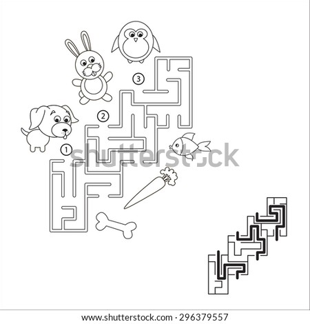 Maze game for children. Search and choose correct path. - stock vector