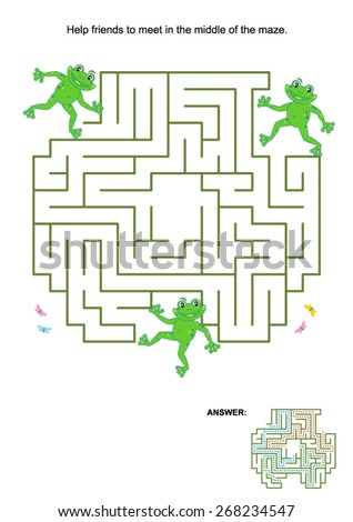 Maze game for kids: Help the frog friends to meet in the middle of the maze. Answer included.  - stock vector