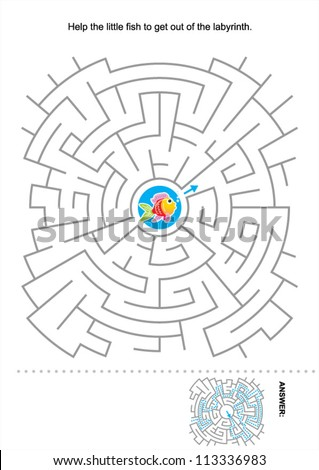Maze game for kids: Help the little fish to get out of the labyrinth. Answer included. For high res JPEG or TIFF see image 113336980  - stock vector