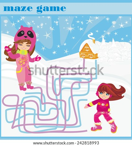 maze game - fun in the winter day - stock vector