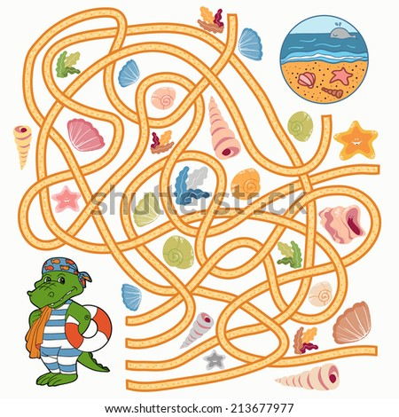 Maze game: Help the crocodile to find a way to the sea - stock vector