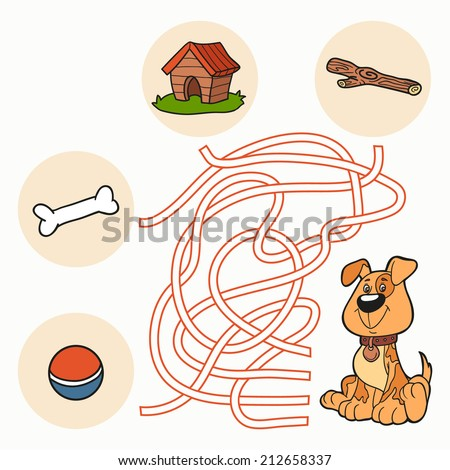 Maze Game: Help the dog get to food  - stock vector
