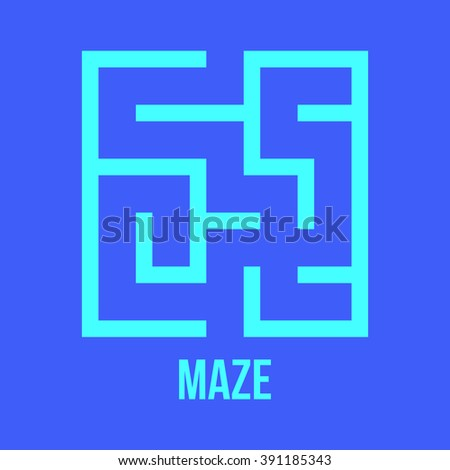 Maze Game Logo. Labyrinth Game with Entry and Exit. Find the Way Out Concept. Transportation. Logistics Abstract Background Concept. Business Path Concept. Vector Illustration. - stock vector