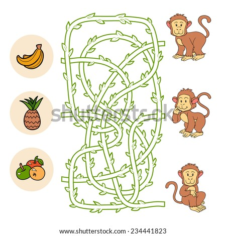 Maze game (monkeys and food) - stock vector