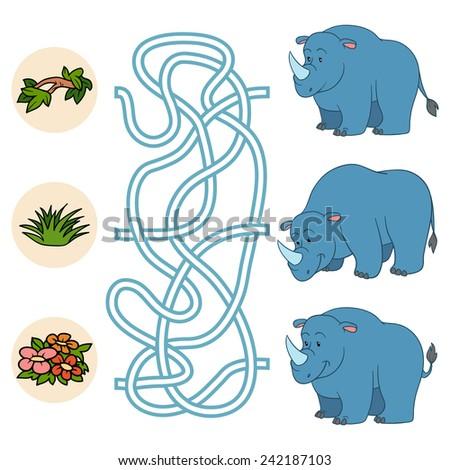 Maze game (rhino) - stock vector