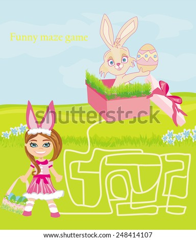 maze game - sweet girl and Easter Bunny  - stock vector