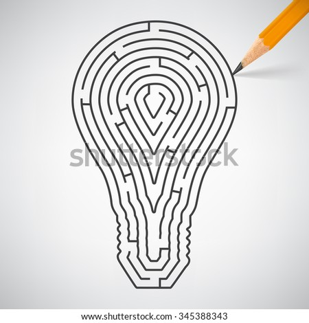 Maze in the shape of light bulbs in pencil. Vector Illustration - stock vector