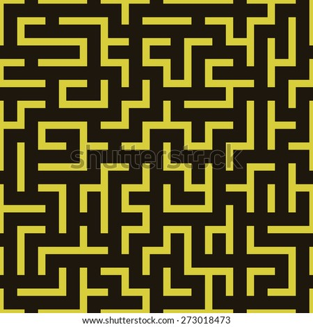 Maze labyrinth pattern. Vector illustration of simple seamless labyrinth pattern - stock vector