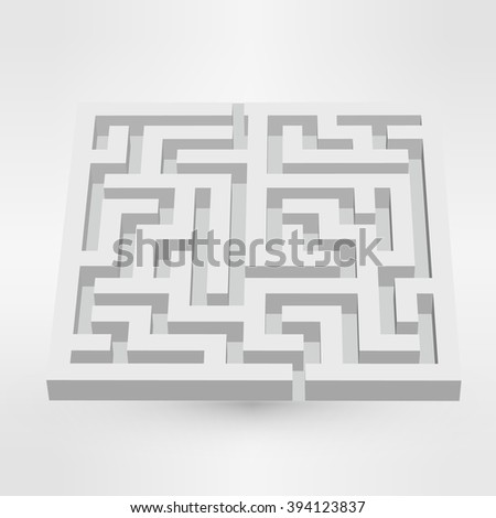 Maze labyrinth puzzle white on grey background. 3D Vector. EPS vector illustration - stock vector