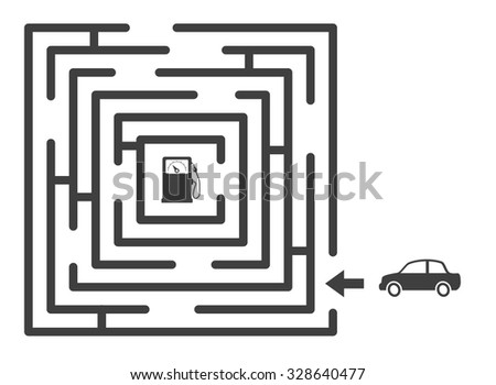 maze labyrinth with car and gas station game concept - stock vector