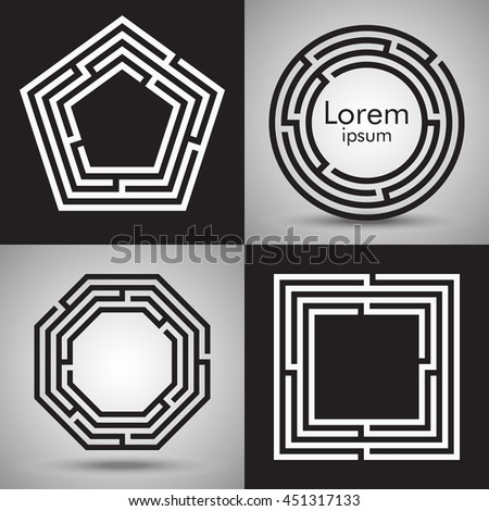 Maze logo collection. Labyrinths of various shape: circle, square, polygon. Vector puzzle design set. Concept of search for solutions. Light and dark background version. - stock vector