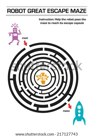 Maze puzzle for Kids about a Robot escaping an  Alien - stock vector