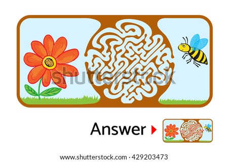 Maze puzzle for kids with bee and flower. Labyrinth illustration, solution included. - stock vector