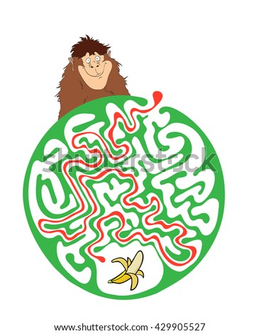 Maze puzzle for kids with monkey and banana. Labyrinth illustration, solution included. - stock vector