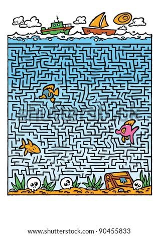 Maze under sea labyrinth for children illustration - stock vector