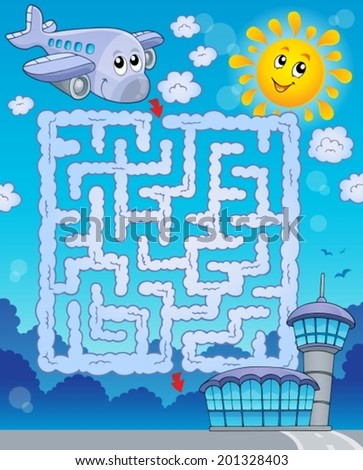 Maze 2 with airplane - eps10 vector illustration. - stock vector