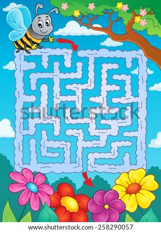 Maze 2 with bee and flowers - eps10 vector illustration. - stock vector